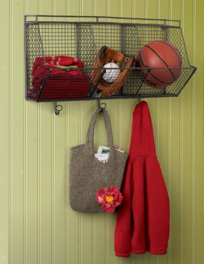 3 Cubby Wire Wall Organizer