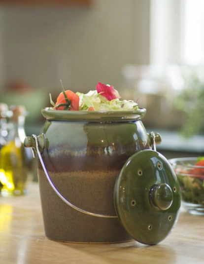 Green Stoneware Compost Crock