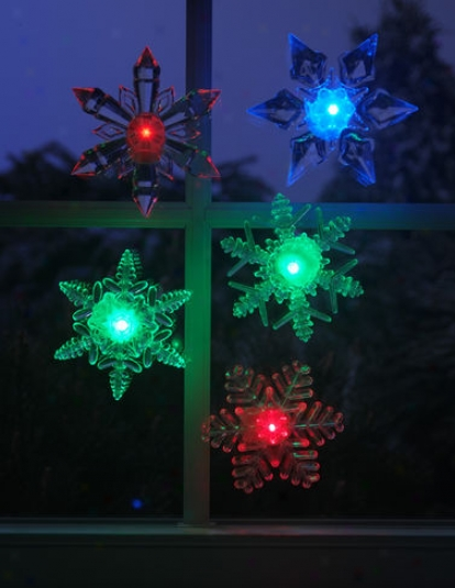 Led Snowflakes, White, Set Of 5