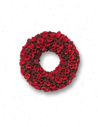 """Red Wood Wreath, 13"""""""