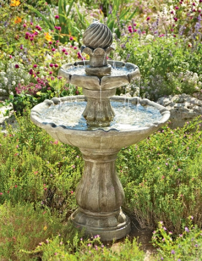 Solar Pineapple Pedestal Fountain