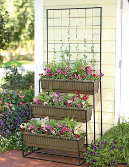 Three-tier Cascade Planter With Trellis