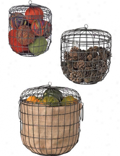 Wirework Storage Baskets, Set Of 3