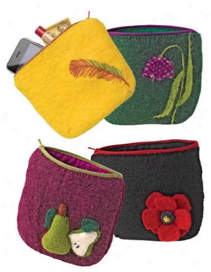 Wool Felt Zippered Pouch
