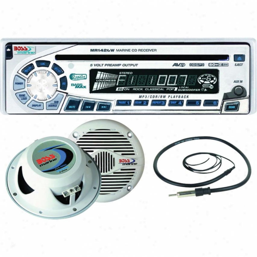 Boss Audio Marine Combo Kit Includes Mr1420w, Mr60w, Mrant10