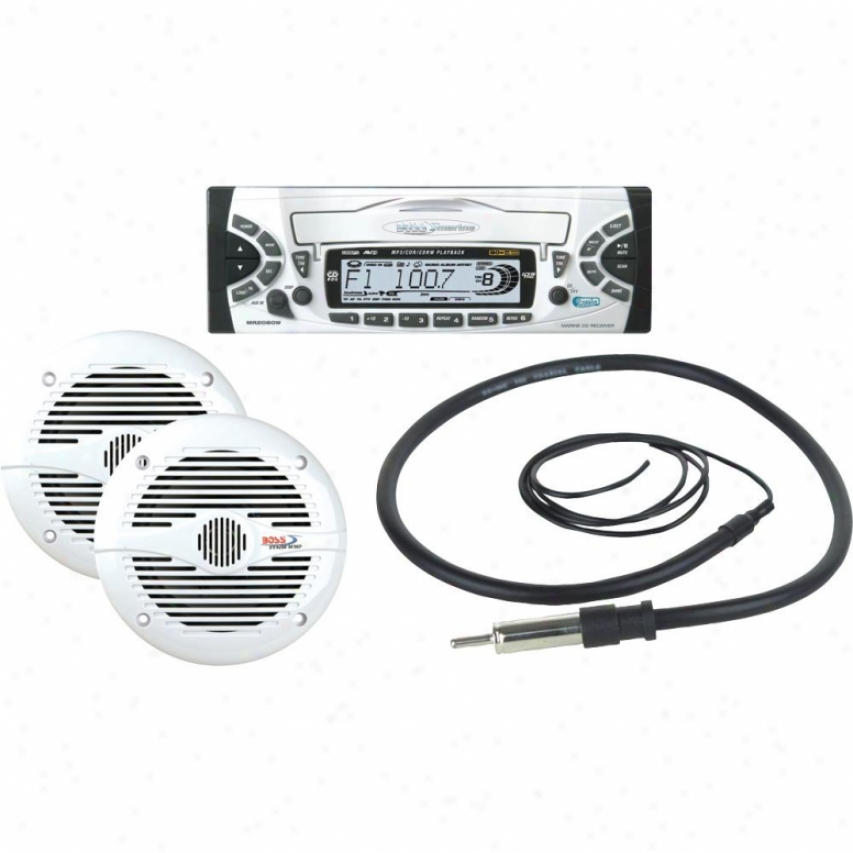 Boss Audio Marine Combo Kit Includes Mr2080w, Mr50w, Mrant10
