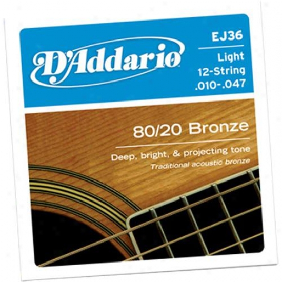 D'addario Ej36 Light 12-string 10-47 Acoustic Guitar Strings