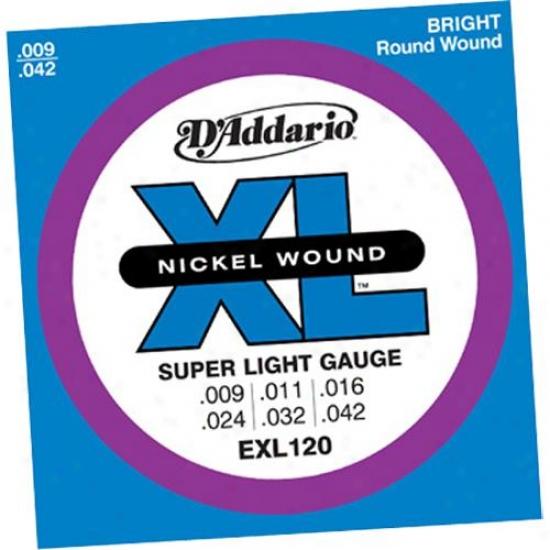 D'addario Exl120-3d Super Light 9-42 Electric Guitar Strings 3 Pack