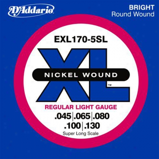 D'addario Exl170-5 Nickel Electric Bass 5 Strings Long Scale 45-130
