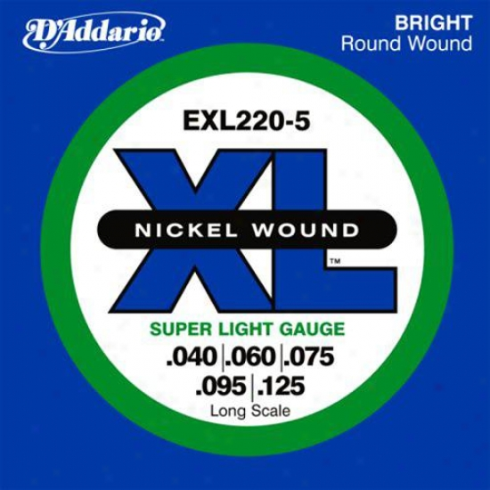 D'addario Exl220-5 Nickel Electric Bass 5 Strings Long Scale 4O-125