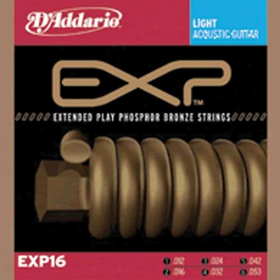 D'addario Extended Play Phosphur Brass Acouatic Guitar StringsE xp16 - Light