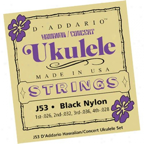 D'addario J53 Set Hawaiian Ukulele Black Nylon