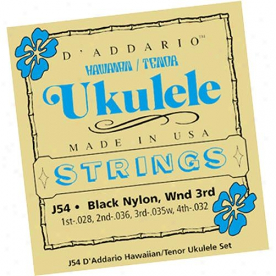 D'addario J54 Set Hawaiian Tenor Ukulele Silver On Nylon / Black Nylon
