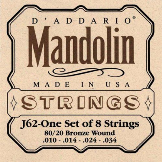 D'addario J62 80/20 Bronze Lite 10-34 Medium Mandolin Strings