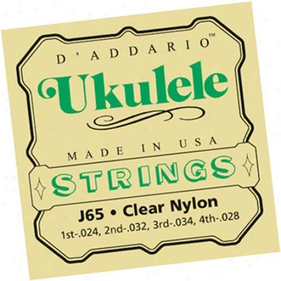 D'addario J65 Set Soprano Ukulele Clear Nylon