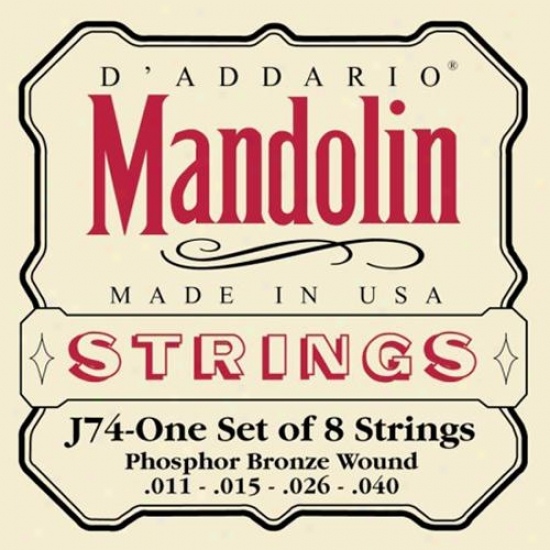 D'addario J74 Phosphor Bronze Mandolin 11-40 Medium Strings