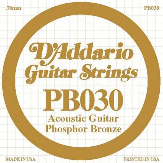 D'addario Pb030 Single Phosphor Bronze Wound - 030
