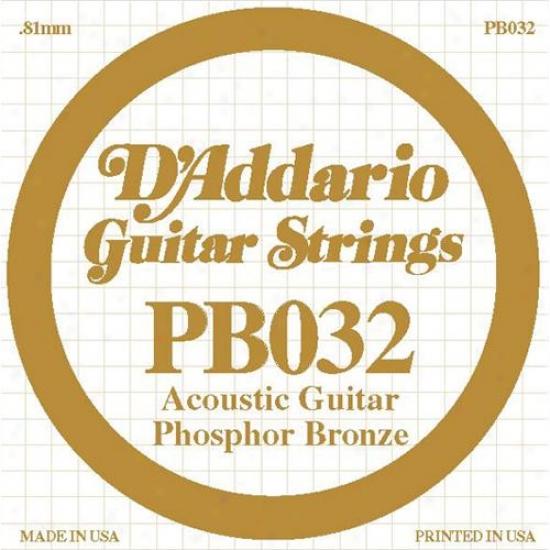 D'addario Pb032 Single Phosphorr Bronze Wound - 032