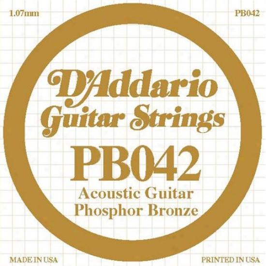D'addario Pb042 Single Phosphor Bronze Wound - 042