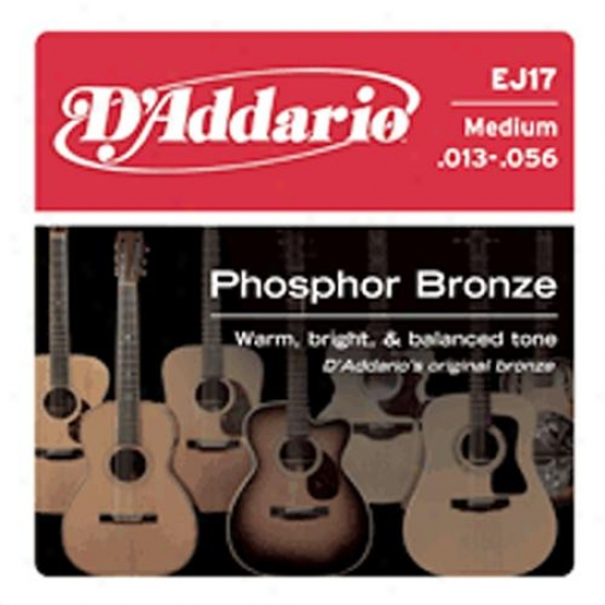 D'addario Phosphor Bronze Acoustic Guitar Strings - Medium Gauge Ej17