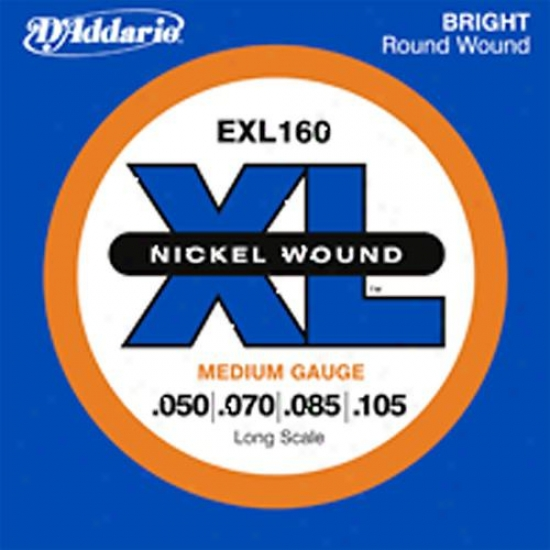 D'addario Xl Nickel Electric Bass String Set Exl160 - Medium