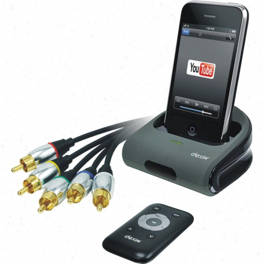 Dexim Dra022 Av Dock Station With Remote Control For Iphone 4 /3gs/3g/touch/ipod