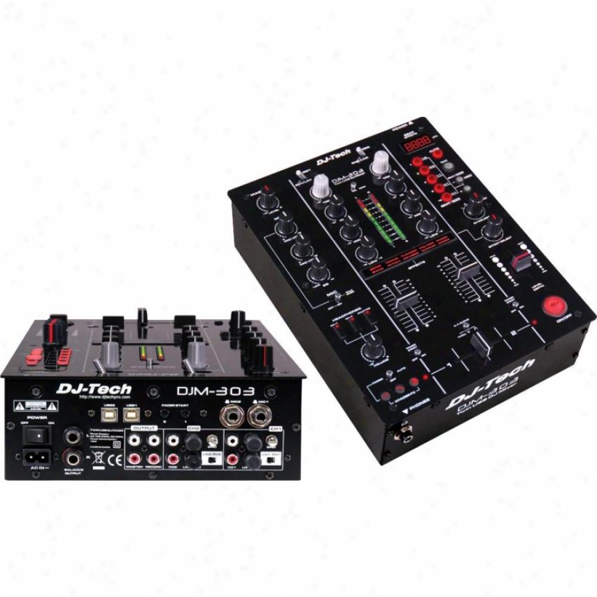 Dj-tech 2 Channel 7 Input Dj Mixer & Twin Usb Soundcard & 9 Dsp Goods - Incl T