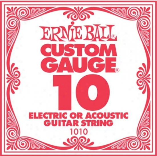 Ernie Ball Eb1010 Single Steel Acpustic And Electric Guitar String - .010 Gauge