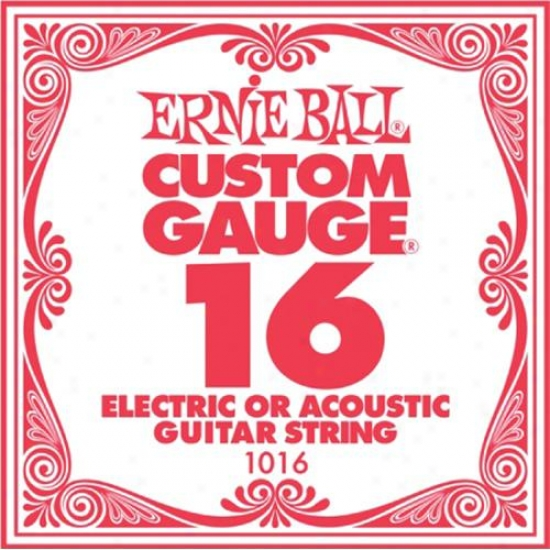 Ernie Ball Eb1016 Single Steel Acoustic And Electric Guitar String - .016 Gauge