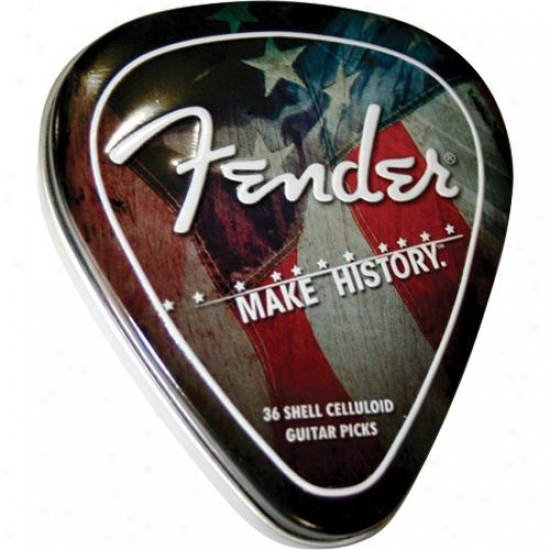 Fender® 0990351010 Make Account Pick Tin Classic Celluloid (351 Shape) 36 Ct