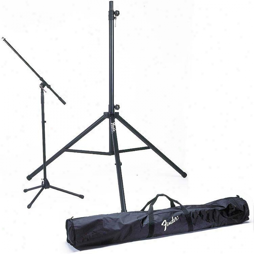 Fender® Stand Kit 2 Speaker Stands & 2 Boom Mic Stands W/carrying Bag
