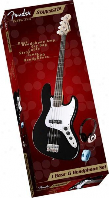 Fender® Starcaster Electric Bass Guitar Set W/bass Headphone Amp, Headphones