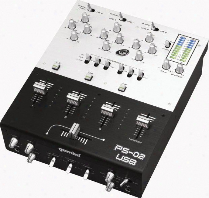 "Gemini 10"" Professional 3 Channel Stereo Mixer W/direct To Pc Inputs Via Dual Us"