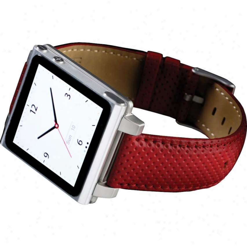 Hex Vision Leather Watch Band For Ipod Nano Gen 6 - Hx1021 - Red