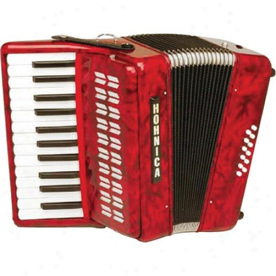 Hohner Harmonica 1302 12 Low Accordion - Red Pearl