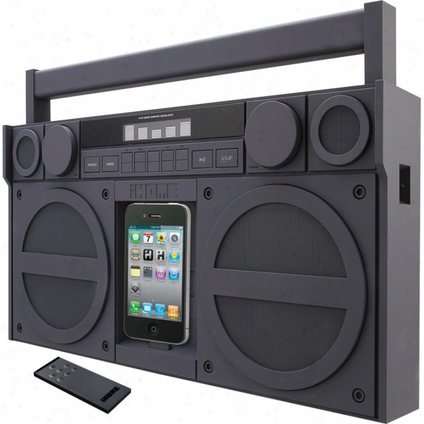Ihome Ip4g Portable Fm Stereo Boombox For Iphone / Ipod - Black