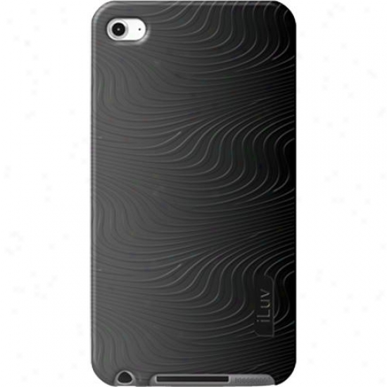 Iluv Icc613 Silicone Case With 3d Pattern Foor Ipod Touch 4g - Black