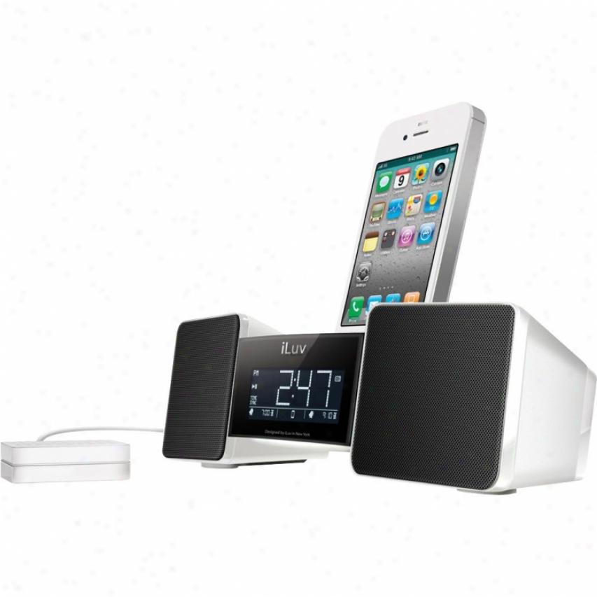Iluv Vibro Ii Dual Alarm Clock Radio W Bed Shaker Imm155 White