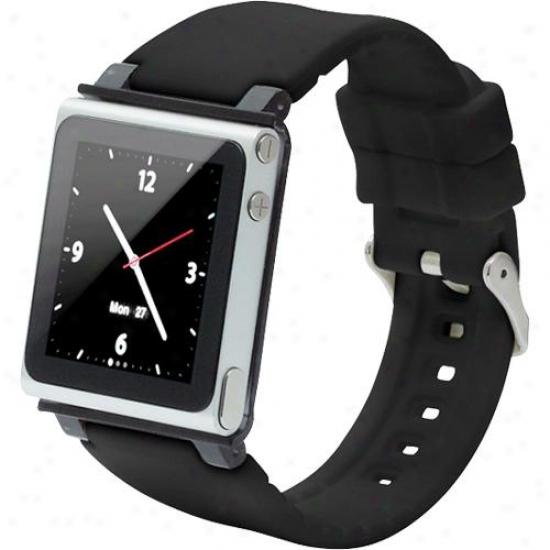 Iwatfhz Watchband Strap Case For Ipod Nano (6fh Generation) - Black