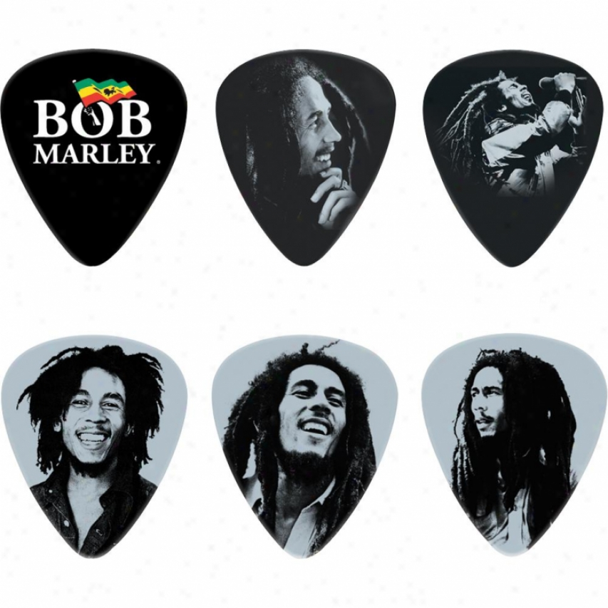 Jim Dunlop Bob Marley Silver Portrait Series Tin - 6 Heavy Picks - Bob-pt04h