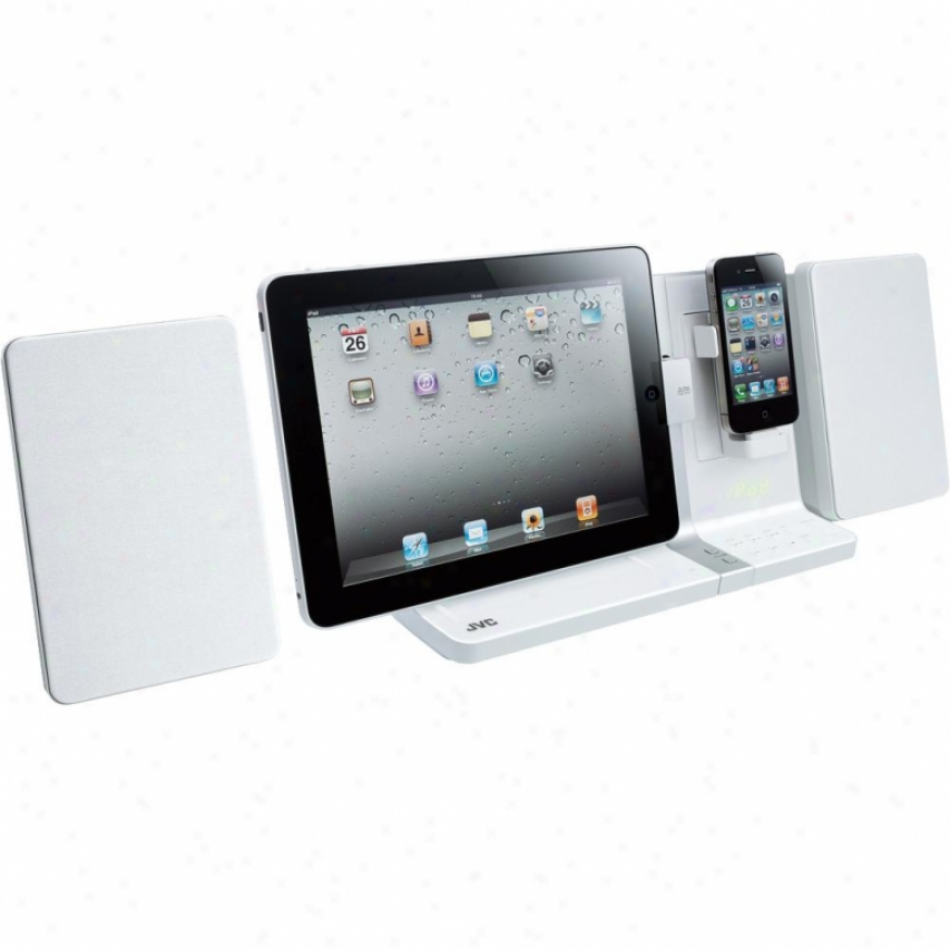 Jvc Ux-vj3 Dual Docking Mini Audio System For Ipad & Iphone - White