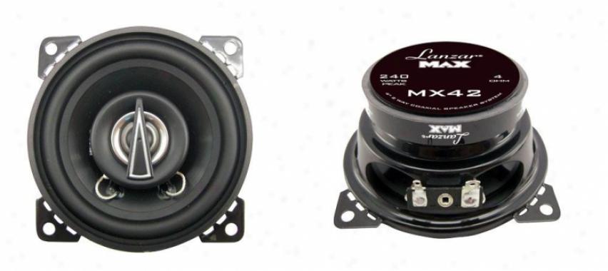 Lanzar 4'' 2-way Coaxial Speake5s 120 Watt Mx42