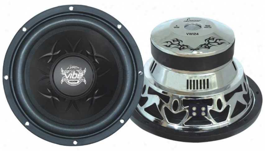"Lanzar Vibe 10"" 1200 Watt 4 Ohm Chrome Subwoofer"
