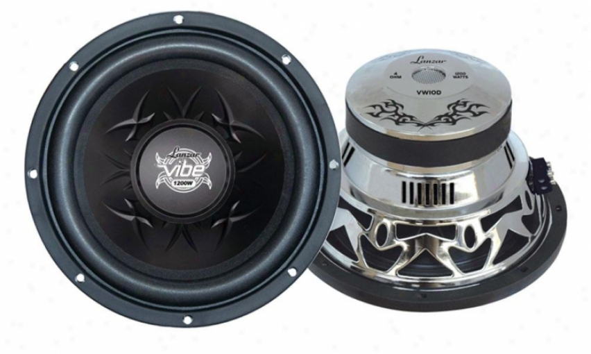 "Lanzar Vibe 10"" 1200 Watt Dual 4 Ohm Chrome Subwoofer"