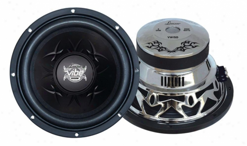 Lanzar Vibe 15'' 2000 Watt Dual 4 Ohm Chrome Subwoofer
