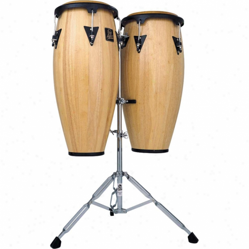 "Latin Percussion Aspire 10"" & 11"" Wood Conga Set With Stand - Natural Forest"