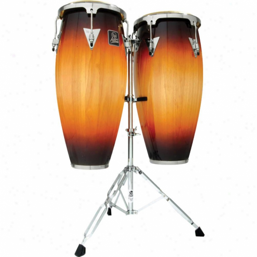 "Latin Percussion Aspire 10"" & 11"" Wood Conga Set By the side of Stand - Vintage Sunburst"