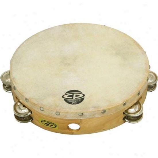 "Latin Percussion Tambourine 10"" Wood, Headed, Double Row Jingles"