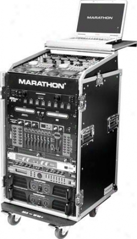 Marathon Pro 01i Slant Mixer Ravk / 16u Vertical Rack System W/laptop Shelf & Ca