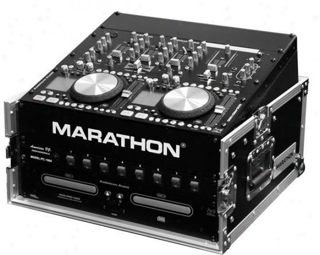 Marathon Pro 10u Slant Mixer Rack / 3u Vertical Rack System W/full Ac Door